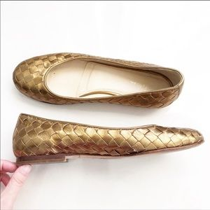 Cole Haan gold basket weave flats